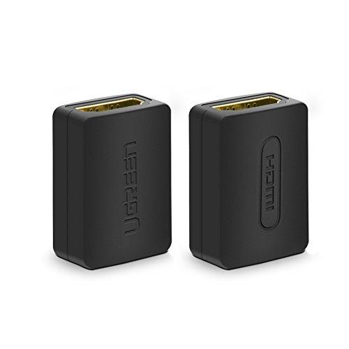 UGREEN Lot de 2 Adaptateur HDMI Femelle vers Femelle Connecteur HDMI Extension HDMI Rallonge Plaqué Or Supporte Résolution 4K*2K @60Hz et 3D pour Prolonger les Dispositifs HDMI