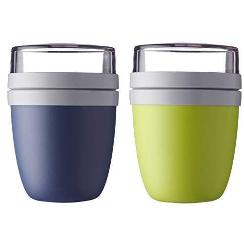 Mepal \'Ellipse\' Lunchpot to go 500 ml & 200 ml, Farbe & Stückzahl:Nordic Denim & Latin Lime