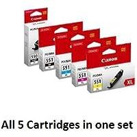 Original Full Set of Canon High Yield PGI-550XL (550 XL Black) & CLI-551XL (551 XL Black, Cyan, Magenta & Yellow) (PC)