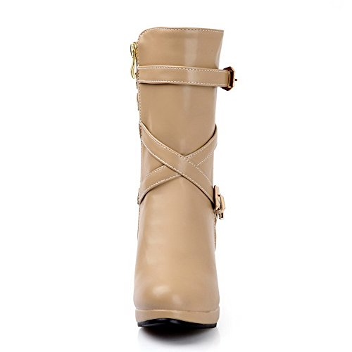 AllhqFashion Damen Hoher Absatz Rein Rund Zehe Reißverschluss Stiefel mit Metallisch Aprikosen Farbe