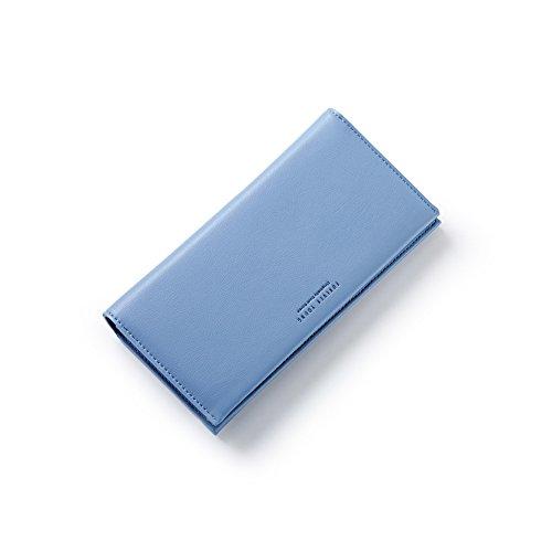 PU Piega Lunga Pelle moda donna Portafoglio borsa Ecopelle Wallet raccoglitore Pocket Portamonete Blu 2