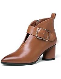 Zapatos de Mujer, Botas de Cuero de otoño Invierno talón Grueso Botas Casuales Martin, Botas de Viento británicas (Color : Marrón Claro, tamaño : 34)