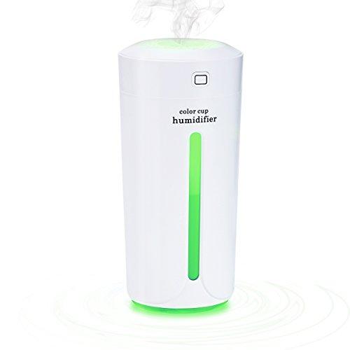 Mini LED Luftbefeuchter, CRXOOX Auto-Luftbefeuchter, USB Lampe Ultraschall Zerstäubung , Kalten Nebel Technologie, leiser Betrieb, Abschaltautomatik Portable Zerstäuber für Office Auto und Zimmer
