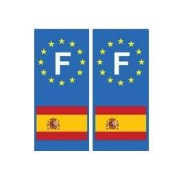 autocollant plaque immatriculation département auto Espagne F drapeau