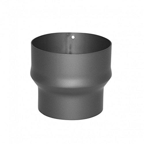 Kamino Flam 331980 Erweiterung, Rohrerweiterung aus Stahl, hitzebeständige Senotherm Beschichtung, geprüft nach Norm EN 1856-2, Gussgrau, zum zum Anschluss von 120 mm in ein 150 mm Rohr -