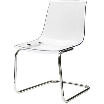 Ikea Tobias Chair Transparent Chrome Plated Amazon Co