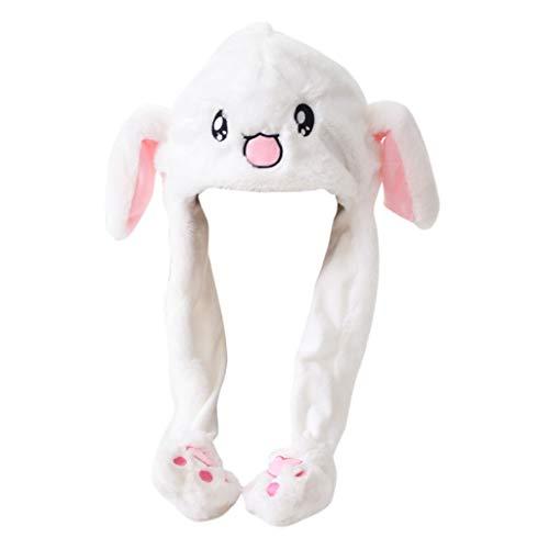 Tangerniu Kappen-Plüsch gemacht für Mädchen Kaninchen-Form, Nette Karikatur halten warmen Kaninchen-Hut mit den beweglichen Ohren, verwendbar für Frühling, Herbst und Winter (Color : White)