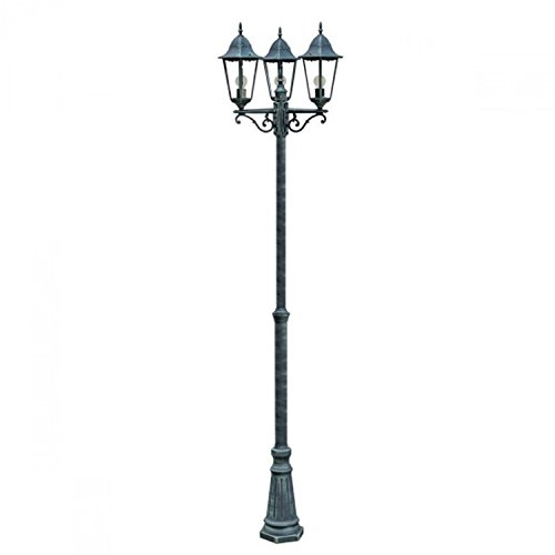 Gartenlampe Gartenleuchte Gartenlaterne Kandelaber 3-flammig Alu Druckguß Grün-Schwarz Höhe 220cm