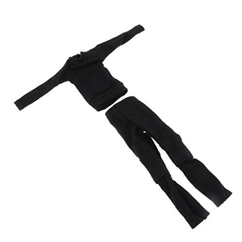 Kostüm Körper Soldat Anzug - Baoblaze 1/9 Frauen Sweatshirt und Jeans Bodysuit-Set Bekleidung Puppenkleidung für 6 Zoll Weibliche Action Figur - Schwarz