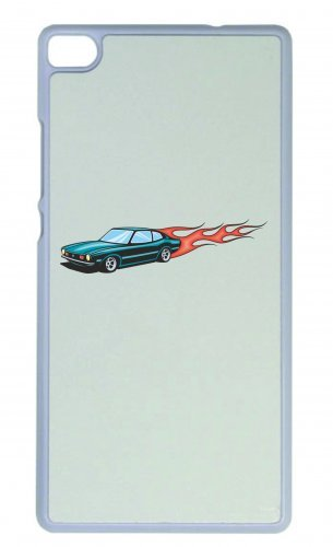 Smartphone Case Hotrod turchese con fiamme di fuoco America Amy USA Auto Car lusso larghezza Bau V8V12Motore cerchione Tuning Mustang Cobra per Apple Iphone 4/4S, 5/5S, 5C, 6/6S, 7