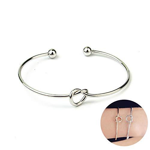 Liebes-Knoten-Armband-Armband-Brautjunfer-Stulpe-Geschenk für Frauen-Mädchen-übersichtlichen Design Schmuck (Silber Knoten) (Kinder Boxen Roben)