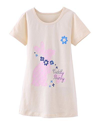 ABClothing Mädchen Kurzarm Nachthemd Nachthemd Nachthemd Baumwolle 6-7 Jahre Dot Bunny Pink (Mädchen-sport Bettwäsche)