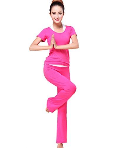 Sentao Femme 3 Pièces Ensembles Casual Yoga vêtements de sport Pantalon Hippie de Yoga Sport T-shirt Rose # 1
