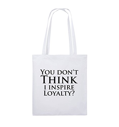 Comedy Bags - YOU DON'T THINK - NARCOS - Jutebeutel - lange Henkel - 38x42cm - Farbe: Schwarz / Pink Weiss / Schwarz
