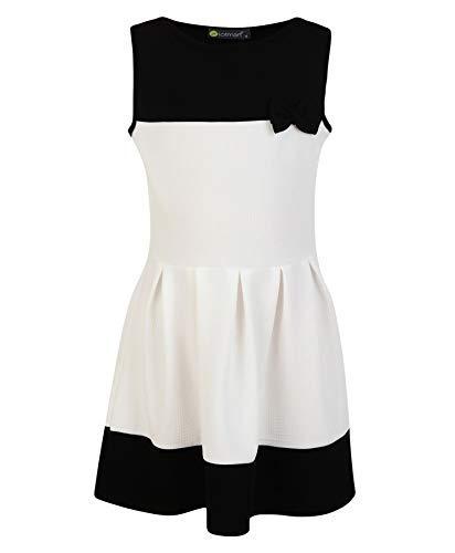 LotMart Mädchen ärmellos Schleife Skaterkleid strukturiert und gratis Geschenk Stift pro Päckchen - weiß-schwarz, 146-152