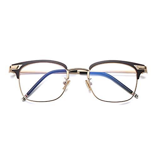 YMTP Platz Herren Brillen Rahmen Edelstahl Männer Grad Brille Rahmen Klar Kurzsichtige Brillengestell, Curry Gold