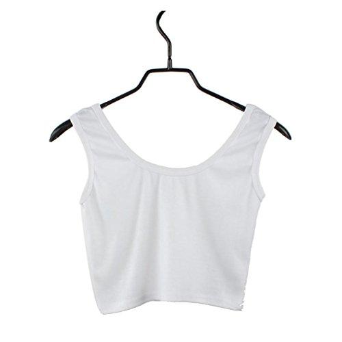 (JiaMeng Damen Kurze Hemden Baumwolle mit Kragen Nabel Sleeveless einfarbig Sexy & Casual Kurze Weste Tank Tops (L, Weiß))