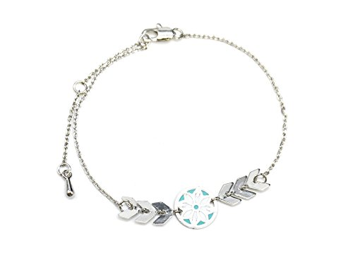 bc2424e-bracelet-fine-chaine-avec-charm-cercle-motif-ethnique-turquoise-et-chevrons-metal-argente