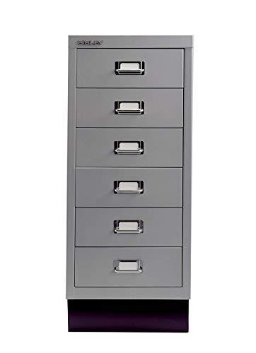 Bisley MultiDrawer, 29er Serie mit Sockel, DIN A4, 6 Schubladen, Metall, 355 Silber, 38 x 27.9 x 67 cm -