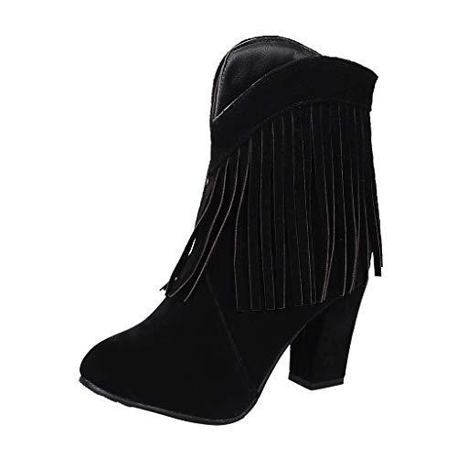 Botas Mujer Invierno Tacon Botas Altas Botines Zapatos con Aumento De Borla Botas De Nieve Zapatos Planos...