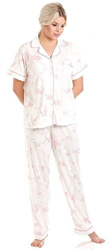 Donna Floreale Jersey misto cotone camicia da notte Camicia da notte & Pigiama - Disponibile in taglie 10-36 Pink - Short Sleeve Pjs
