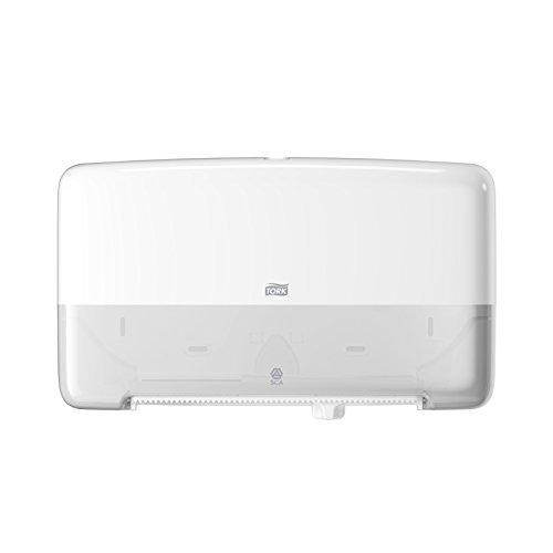 Tork 555500 Doppelrollenspender für Mini Jumbo Toilettenpapier T2 in Weiß / Hygienischer Toilettenpapierspender im Elevation Design / Hohe Kapazität