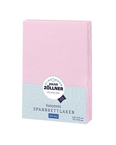 Julius Zöllner 8320147760 - Spannbetttuch Jersery für Kinderbett, Größe: 60 x 120 cm/70 x 140 cm, Farbe: rosa