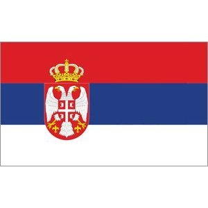 Serbie yantec drapeau avec armoiries 150 x 250 cm