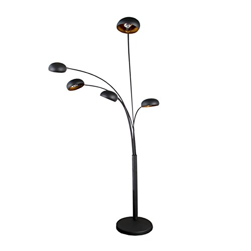 5 flammig bogenlampe five lights 205cm e14 schwarz gold mit ummanteltem marmorfu. Black Bedroom Furniture Sets. Home Design Ideas