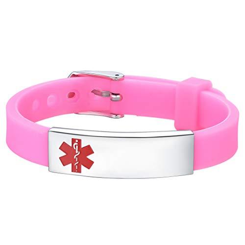 U7 Medical Alert Armband Ice SOS Notfall verstellbar pink Silikon Armband mit Edelstahl ID Schild Armreif Geschenk für Männer Frauen Kinder (Medical Alert Armband Frauen)