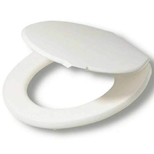 DIECH WC-Sitz - Robustes Duroplast mit Keramik-Optik - Feststellbare Scharniere - Standardmontage - schließen und leicht abnehmen - Toilettensitz für schnelle Reinigung - weiß