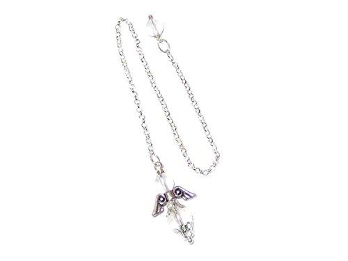 Engel-Pendel versilbert mit Bergkristall-Perlen Handarbeit + Täschchen