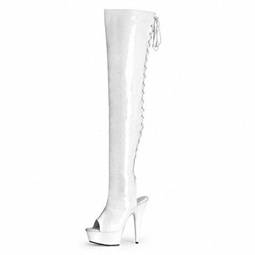 9361a1d172541 DZW Sandales Femme Bottes Cuissardes Bottes au Genou Mode Blanc les  Bretelles Bottes de Chevalier Grande