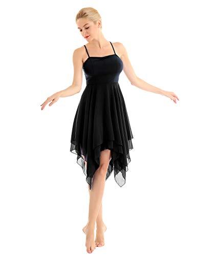 2-schicht Damen Wickelrock (inhzoy Damen Kleider Elegant Ballettkleid Ballettanzug mit Asymmetrisch Chiffon Rock Training Latin Rumba Ballerina Tanzkleid Dancewear Schwarz XX-Large)
