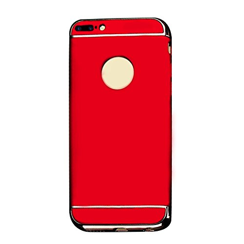 Cuitan 3 in 1 PC Harte Schutzhülle für Apple iPhone 7 plus (5,5 Zoll), mit Electroplate Bumper Rück Abdeckung Back Cover Voll Protective Case Hülle Handytasche Rückseite Tasche Handyhülle für iPhone 7 Rot