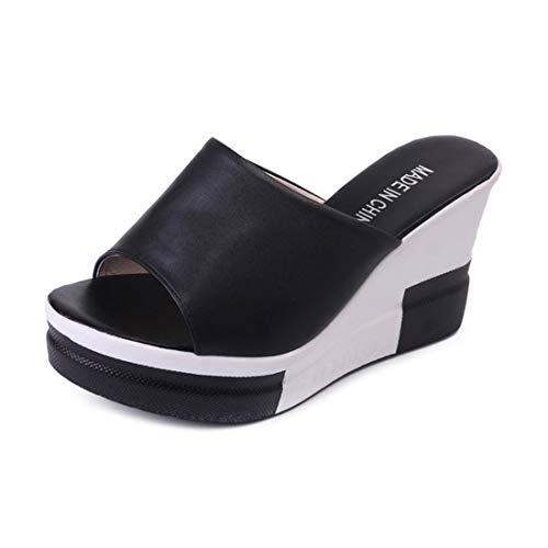 Sfit Damen Sommer Plattform Sandalen Clogs Sandalen Peep-Toe Schuhe High Heels Plateau Wedge Bequeme Sommerschuhe Offen Strandschuhe Hauschuhe High Heel Damen Wedge Heels