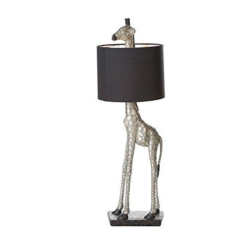 Max-finish (Casablanca - Lampe Giraffe Poly silberfarben antik Finish mit schwarzem Schirm E27 Fassung max. 60 Watt)