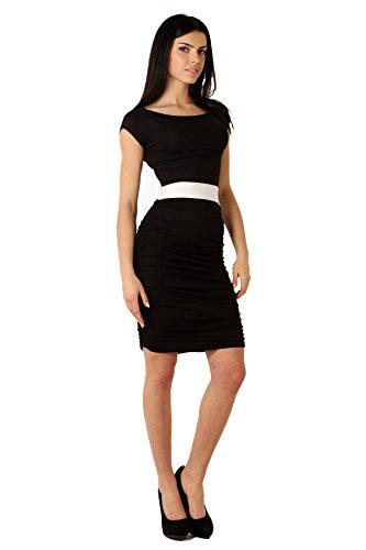 Kleid Tunika Mini-Kleid mit Raffung 6 Farben Gr. 36 38 S M 8948 Schwarz