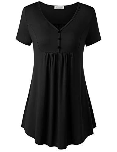 BAISHENGGT Damen Henleyshirt Longtee V-Ausschinitt Tunika Vintage Basic Schwarz XL -