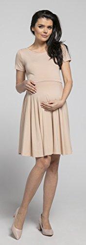 Happy Mama Damen Umstands Stillkleid Midi Schaukel Kleid Kurzarm.084p (Beige) - 4