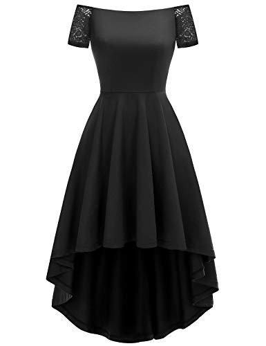 YOYAKER Robe Femme Asymétrique Vintage Rétro de Cocktail Soirée Cérémonie Courte Devant Longue Dernière pour Mariage Anniversaire avec Manches Courtes Black XL