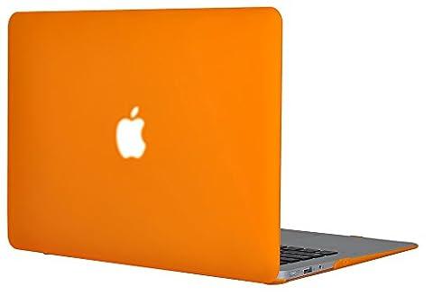 Topideal Revêtu de gomme Mat soyeux doux Satins doux au toucher Cas De Coquille Dure étui pour 13-inch MacBook Air 13.3 - Orange