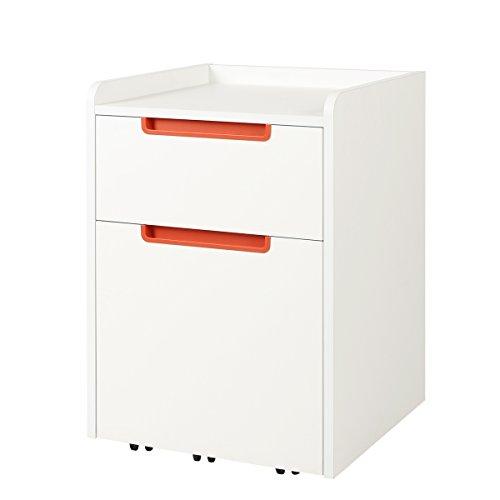 DEVAISE Hölzernen Aktenschränke/Rollcontainer / Büro-Rollcontainer/Bürocontainer mit 2 Schublade für A4; Mobilen, Weiß, Orange Hälfte-Griff