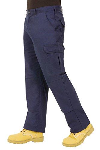 Proluxe Endurance da Uomo Cargo Combat Pantaloni da Lavoro con Tasche al Ginocchio e Cuciture rinforzate–Disponibile in Nero, Blu Navy e Grigio Marina Militare 32 Regular