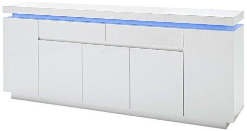 Robas Lund, Sideboard, Kommode, Ocean, Hochglanz/weiß, LED, inkl. Fernbedienung, 200 x 40 x 81 cm, 48985WW8 -