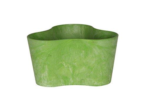 Artstone Pflanzgefäß Pflanzkübel dreieck Claire, frostbeständig und leichtgewichtig, Limegrün, 26x14cm