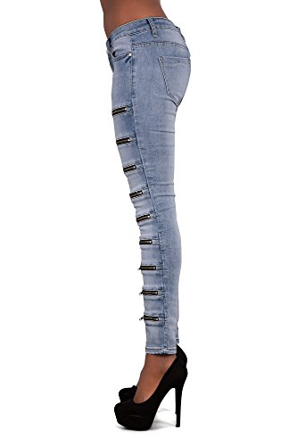 LustyChic - Jeans - Femme Light Blue Jeans With Zip Details