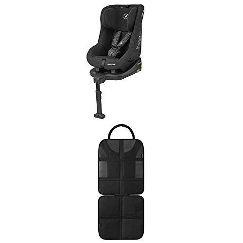 Maxi-Cosi TobiFix Kindersitz Gruppe 1 (9-18 kg) mit integrierter Isofix Station und Seitenaufprallschutz, Black Grid + Rücksitzschoner (schnell und einfach zu montieren) schwarz