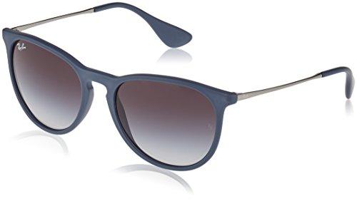 Ray Ban Unisex Sonnenbrille Erika Mehrfarbig (Gestell: Blau/Gunmetal, Gläser: Grau Verlauf 60028G) Large (Herstellergröße: 54)