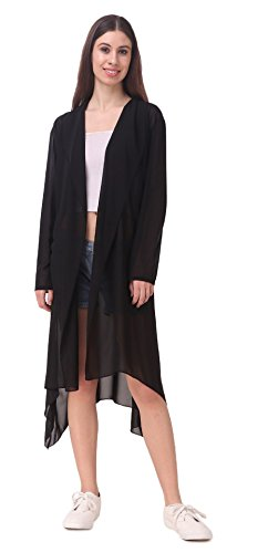 Bfly Women s Georgette Stylish Long Shrug (Black)+Freebie — pranzon e1aae2d90